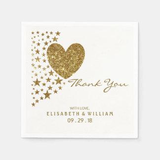GoldGlitter-Herz und Sterne, die Wedding sind Servietten
