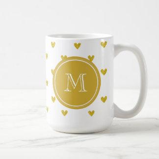GoldGlitter-Herzen mit Monogramm Kaffeetasse