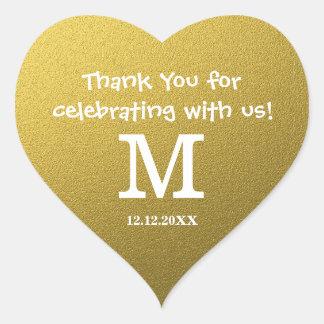 GoldGlitter-Hochzeit danken Ihnen Monogramm Herz-Aufkleber