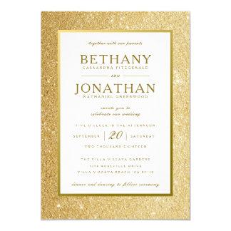 GoldGlitter-Hochzeits-Einladung 12,7 X 17,8 Cm Einladungskarte