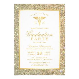 GoldGlitter-Krankenpflege-SchulAbschluss-Party Karte