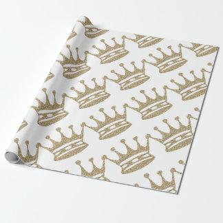 GoldGlitter-Krone Geschenkpapier