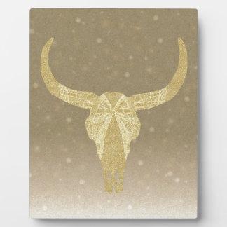 GoldGlitter-Kuh-Schädel Fotoplatte