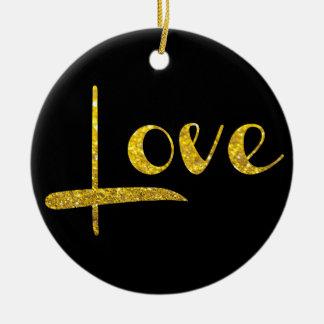 *~* GoldGlitter-Liebe-Verzierung Keramik Ornament