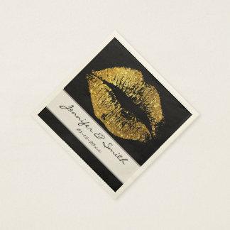 GoldGlitter-Lippen Papierservietten