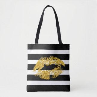 GoldGlitter-Lippen und Schwarz-weiße Streifen Tasche
