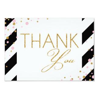 GoldGlitter-Rosa besprüht Streifen danken Ihnen Karte