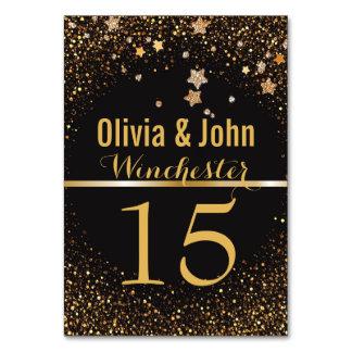 GoldGlitter-Sterne der Hochzeits-Tischnummer-  Karte