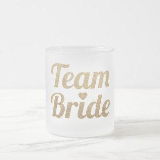 GoldGlitter-Team-Braut Bachelorette mattierte Mattglastasse