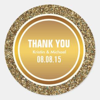 GoldGlitter u Gold danken Ihnen ringsum Runde Sticker