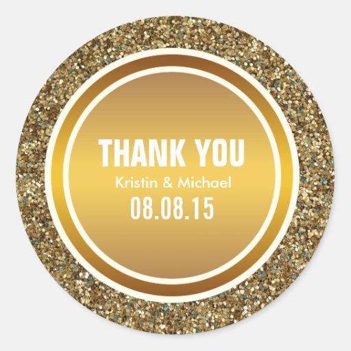 GoldGlitter u. Gold danken Ihnen, ringsum Runde Sticker