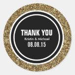 GoldGlitter u. schwarze Gewohnheit danken Ihnen zu Runde Sticker