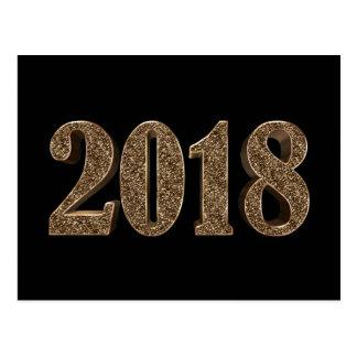 GoldGlitter-Zahlen des glücklichen neuen Jahr-2018 Postkarte