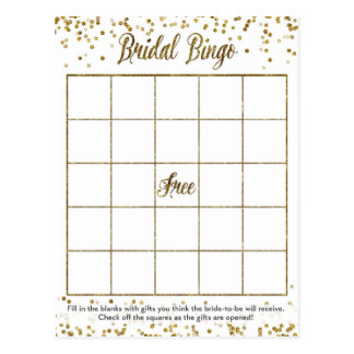 GoldGlitterconfetti-Bingo-Brautparty-Spiel Postkarten