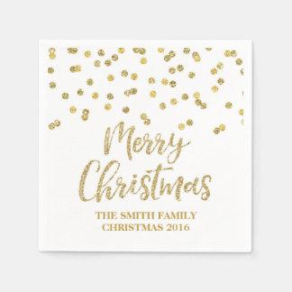 GoldGlitterconfetti-frohe Weihnacht-Serviette Papierserviette