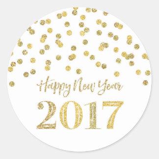 GoldGlitterconfetti-glückliches neues Jahr 2017 Runder Aufkleber