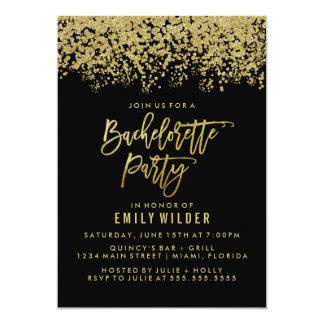 GoldGlitterconfetti-Junggeselinnen-Abschied 12,7 X 17,8 Cm Einladungskarte