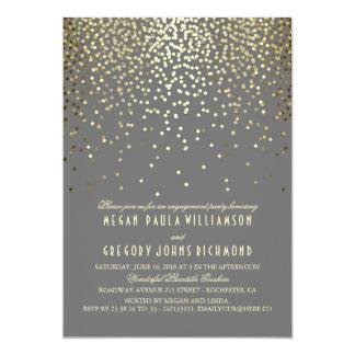 GoldGlitterconfetti-Vintages Verlobungs-Party 12,7 X 17,8 Cm Einladungskarte
