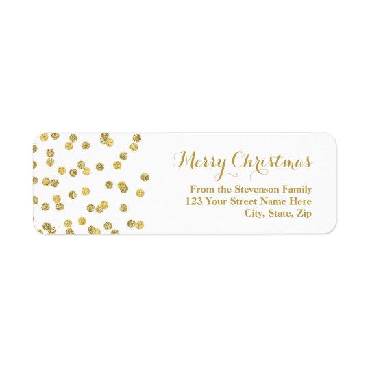 GoldGlitterconfetti-Weihnachtsadressen-Etikett