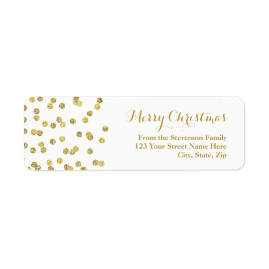 GoldGlitterconfetti-Weihnachtsadressen-Etikett Kleiner Adressaufkleber