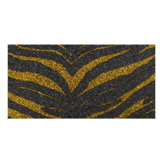 GoldGlitterzebra-Streifen Fotokarte