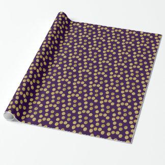 GoldGlitz und lila Punkte Geschenkpapier