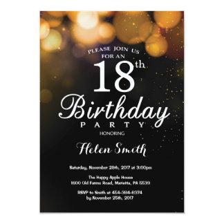 GoldGlitzer 18. Geburtstags Einladungs Karte 12,7 X 17,8