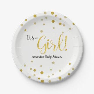 GoldGlitzer-Blick-Schein-Baby-Dusche Pappteller