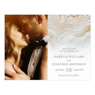 GoldGlitzer-Marmor, der Save the Date Wedding ist Postkarte