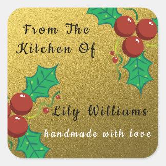 GoldGlitzer-Weihnachten von der Küche von Quadratischer Aufkleber