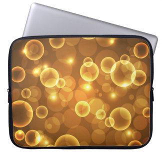Goldgoldene Blasen-Licht-Kunst Laptop Sleeve