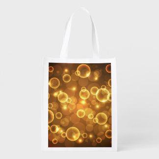 Goldgoldene Blasen-Licht-Kunst Wiederverwendbare Einkaufstasche