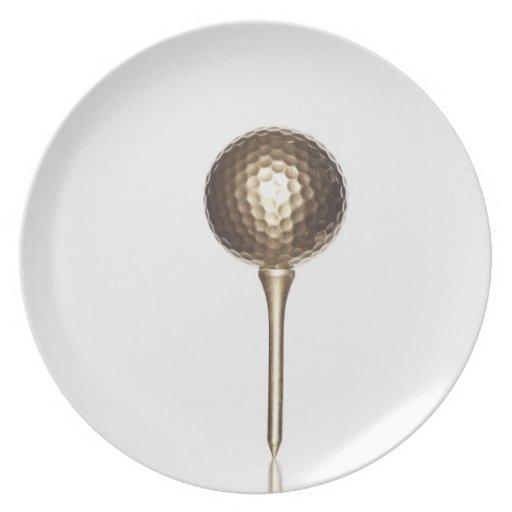 GoldGolfball und -t-Stück Flacher Teller