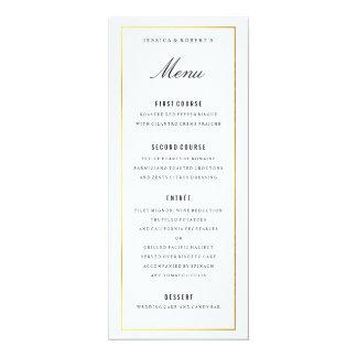Goldgrenzelegante Hochzeits-Menü-Karte 10,2 X 23,5 Cm Einladungskarte