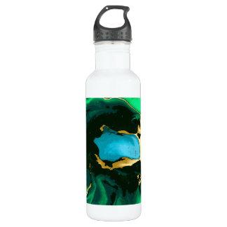 Goldgrüne und schwarze Marmoracrylfarbenkunst Edelstahlflasche