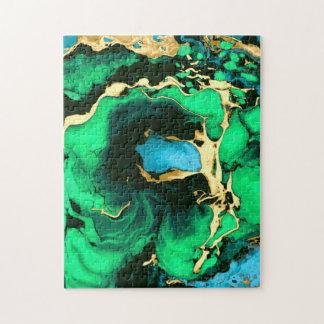 Goldgrüne und schwarze Marmoracrylfarbenkunst Puzzle