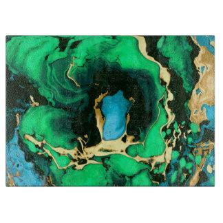 Goldgrüne und schwarze Marmoracrylfarbenkunst Schneidebrett