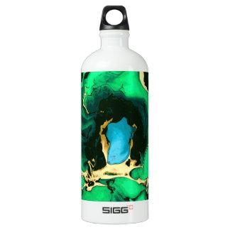 Goldgrüne und schwarze Marmoracrylfarbenkunst Wasserflasche