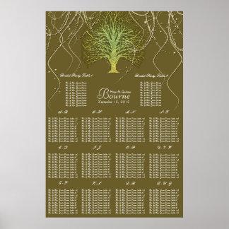 Goldgrüne Wirble Baum-Hochzeits-Einladung Poster