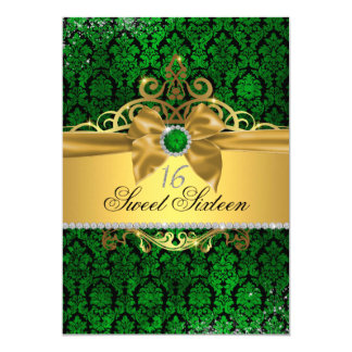 Goldgrüner Damast 16. Geburtstag laden ein Karte