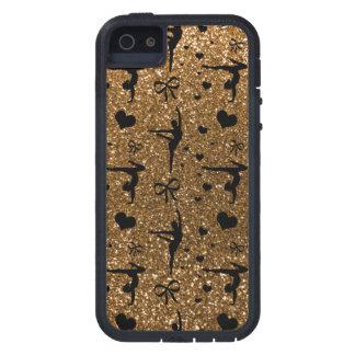 Goldgymnastik-Glittermuster iPhone 5 Etui
