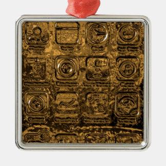 GoldHandyikonen Quadratisches Silberfarbenes Ornament