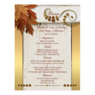 GoldHerbstlaub-Erntedank oder Hochzeits-Menü Postkarte
