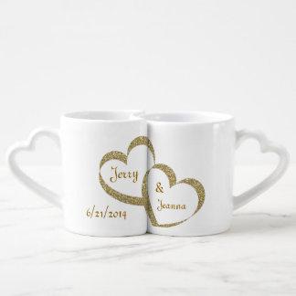 Goldherz-Jungvermählten-Tassen-Set Paartassen