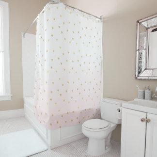 Goldherzen erröten rosa Ombre Duschvorhang