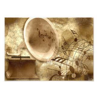 Goldhintergrund mit Grammophon-Foto-Druck Foto