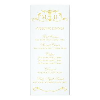 Goldhochzeitsabendessen-Menüschablone 10,2 X 23,5 Cm Einladungskarte