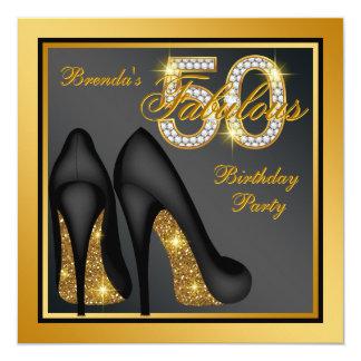 Goldhohe Fersen-Schuh-fabelhaftes 50. Karte