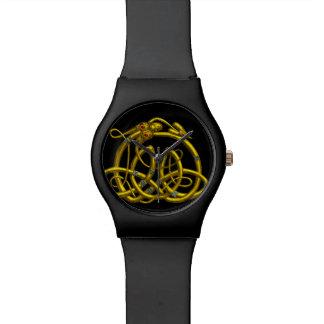 GOLDhyper DRACHE-KELTISCHE KNOTEN, schwarz Uhr
