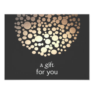 GoldImitat-Folie kreist Salon-Geschenk-Zertifikat 10,8 X 14 Cm Einladungskarte